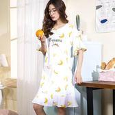 中大尺碼 睡裙女夏季純棉韓版可外穿清新學生長款寬鬆女生夏天短袖睡衣 zm1268【每日三C】