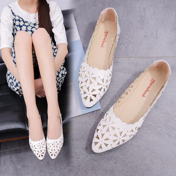 女鞋淺口尖頭鏤空小白鞋孕婦大碼平跟平底單鞋女 黛尼時尚精品