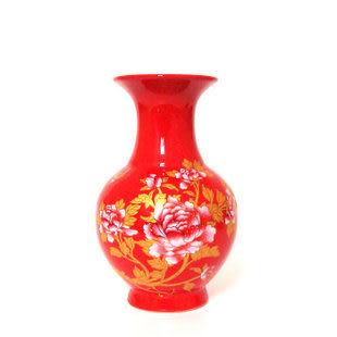 中國紅描金富貴牡丹鴻運花瓶 特價 禮品