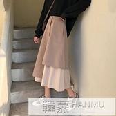 新款韓版中長款裙子復古拼接日系不規則A字長裙學生半身裙女春秋  牛轉好運到
