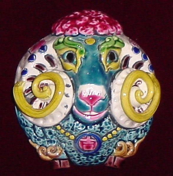鹿港窯-居家開運商品-台灣國寶交趾陶裝飾壁飾-正方立體框【十二生肖-羊】免運費送到家