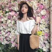 一字肩上衣 2018春裝chic韓版V領吊帶一字肩露肩上衣五分袖襯衫襯衣學生女裝 雲雨尚品