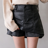 MIUSTAR 正韓-霧面質感!車線大口袋後鬆緊內外雙層皮質褲裙(共1色)【NH0550RL】預購