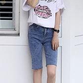 IN'SHOP 韓系不規則抽鬚五分牛仔褲【KT20750】