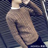 毛衣 冬季毛衣男針織衫學生圓領修身套頭打底衫個性男士季線衣潮 莫妮卡小屋