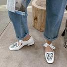 大尺碼女鞋34~46 2021蛇紋拼色丁字方頭低跟樂福鞋~2色