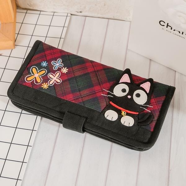 Kiro貓 小黑貓格紋多卡層鈔票收納錢包長布夾【820119】