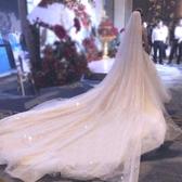 新娘頭紗 香檳色星空頭紗女頭飾超長款新娘結婚婚紗超仙森系白色大拖尾 莎拉嘿呦