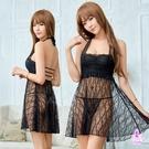 睡衣 性感睡衣 星光密碼【M016】黑色透視誘人柔紗綁脖二件式睡衣
