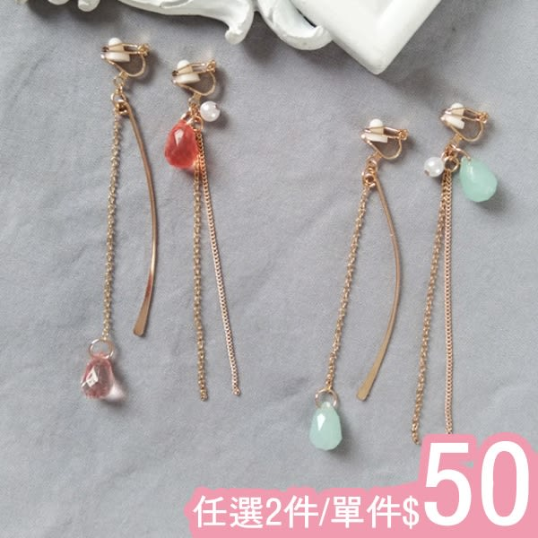 耳環-極簡甜美糖果水晶曲線流蘇不對稱長款耳環耳夾Kiwi Shop奇異果0918【SVE4166】