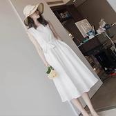雪紡洋裝 韓系度假風蕾絲拼接中長款連身裙 花漾小姐【預購】