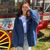 春季新款韓版寬鬆百搭加絨加厚長袖連帽開衫情侶衛衣外套上衣女裝