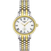TISSOT 天梭 Bella Ora 臻時系列小秒針女錶-銀x雙色版/27mm T1031102203300