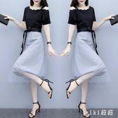 大碼遮肚連身裙顯瘦夏季新款胖mm中長款短袖露肩網紗洋裝 XN1832【VIKI菈菈】