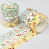Kamio 仿刺繡紙膠帶 3入 手帳貼 裝飾貼 動物系列 森林動物 綠_KM22591