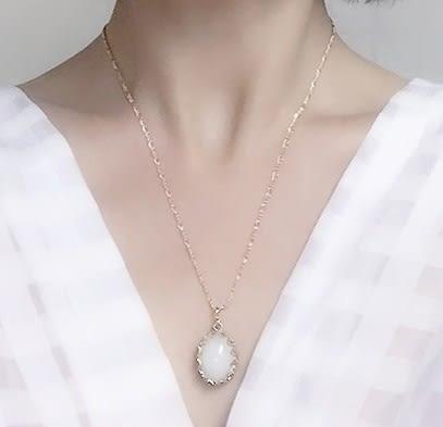 [協貿國際]天然京白玉鑲嵌橢圓形吊墜鍍24K金鍊單條價