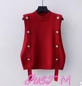 針織馬甲馬甲女春季外穿女士背心2021新款針織毛衣紅色馬夾內搭潮V領寬鬆 JUST M