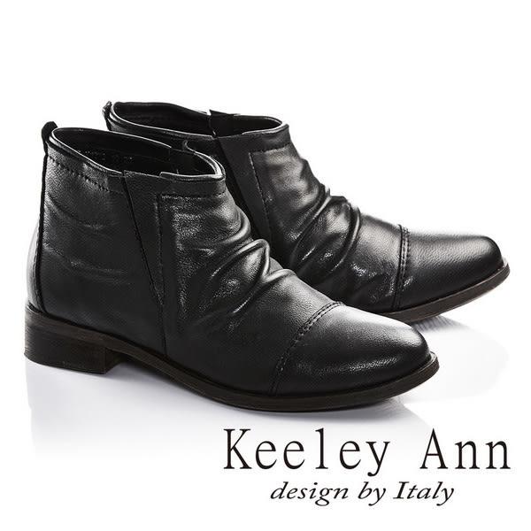 ★零碼出清★Keeley Ann英倫爵士風真皮拼接仿舊短靴(黑色)-Ann系列