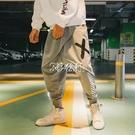 飛鼠褲ins超火的休閒褲男青吊檔哈倫褲寬鬆大碼假兩件拼接束腳飛鼠褲