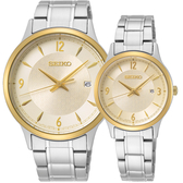 SEIKO 精工 CS 50 周年紀念款 石英情侶對錶-36+24mm 7N42-0GJ0Y+7N82-0JN0Y