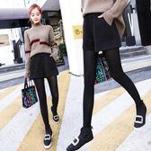 寬褲  高腰毛呢短褲2018新款黑色闊腿顯瘦寬松休閒靴褲