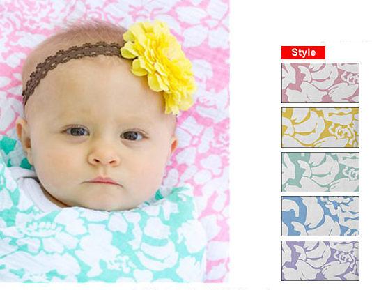 包巾/嬰兒包巾 美國 Swaddle Designs - 薄棉羅紗多用途嬰兒包巾 復古花卉 #SD-454
