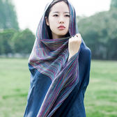 YAHOO618☸ 彩色細條紋棉麻圍巾披肩兩用mousika