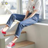 雙12購物節韓版直筒牛仔褲女寬鬆百搭顯瘦破洞長褲