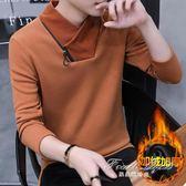 男士長袖t恤韓版連帽T恤加絨加厚裝潮流衣服保暖高領打底衫 果果輕時尚