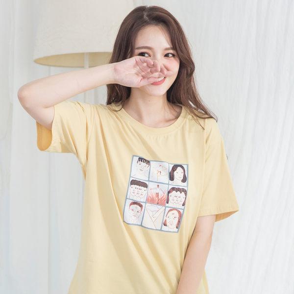 插畫九宮格棉質T-shirt(5色)