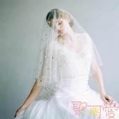 新娘頭紗星星月亮拍照頭紗旅拍網紗婚紗攝影頭紗【聚可愛】