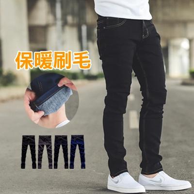 牛仔褲 內磨毛小皮標素色小直筒牛仔褲【NB0378J】
