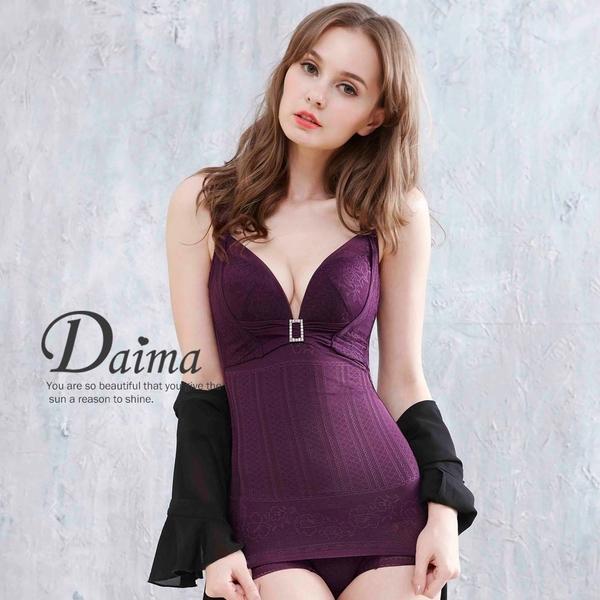 黛瑪Daima 無鋼圈頂級蠶絲免罩馬甲塑身背心(紫色)