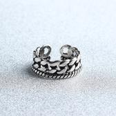 戒指 925純銀 麻花鎖鏈-百搭復古生日情人節禮物女開口戒73gp32【時尚巴黎】