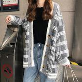 秋冬開衫毛衣女中長款學生2018新款韓版寬鬆格子慵懶風針織外套女 後街