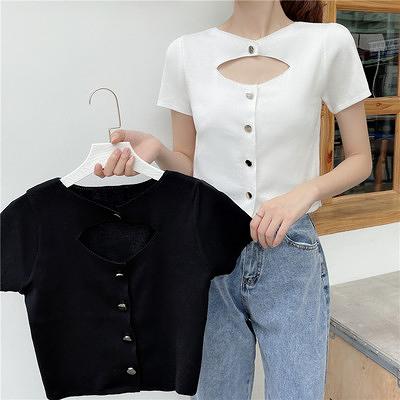 小衫t恤短版上衣設計感小眾韓版輕熟風小心機短款針織衫上衣1F064-A.胖丫