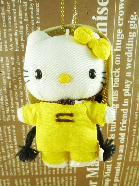 【震撼精品百貨】Hello Kitty 凱蒂貓~HELLO KITTY絨毛吊飾-越南服飾圖案