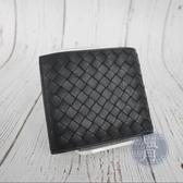 BRAND楓月 BOTTEGA VENETA VB 黑色編織 多夾層 二折短夾 皮夾 錢包