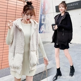 羊羔毛馬甲外套女-羽絨棉馬甲女秋冬季新款韓版時尚連帽羊羔毛拼接馬夾短外套潮 多麗絲