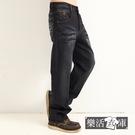 【7231】十字架圖騰刷白伸縮休閒中直筒牛仔褲(深藍)● 樂活衣庫