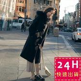 梨卡★現貨 - 超好版型~不帶後悔超顯瘦中長版不起毛球牛角扣大毛領毛呢外套風衣長大衣AR021-1