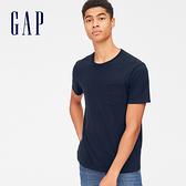 Gap男裝 休閒直筒圓領短袖口袋T恤 440850-海軍藍