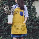背心式家用廚房時尚短牛仔公主工作圍裙女奶茶店