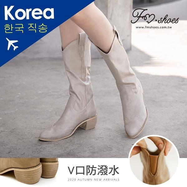靴.防潑水V口西部牛仔中筒靴(米白)-大尺碼-韓國精選-FM時尚美鞋.Shine