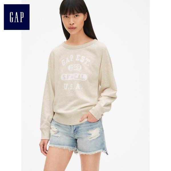 Gap女裝 Logo印花插肩長袖圓領休閒上衣 443085-米灰色