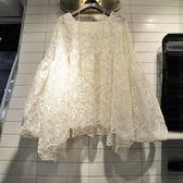 長袖蕾絲衫女春裝新款寬鬆氣質網紗衫潮