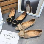 新款女單鞋韓版時尚尖頭平底社會豆豆鞋水鑚淺口一腳蹬潮  卡布奇諾