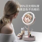 led化妝鏡 鏡子女led燈化妝鏡帶燈便攜公主宿舍鏡充電臺式補光化妝燈梳妝鏡