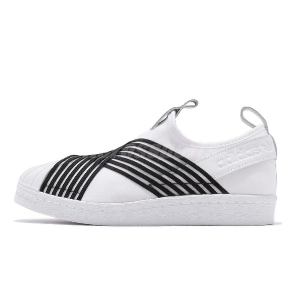 【海外限定】 adidas 休閒鞋 Superstar Slip On W 白 黑 女鞋 運動鞋 繃帶鞋 【ACS】 CG6013