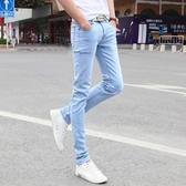 牛仔褲韓版夏季天藍色褲子男修身小腳褲薄款休閒牛仔褲男士長褲潮流秋冬